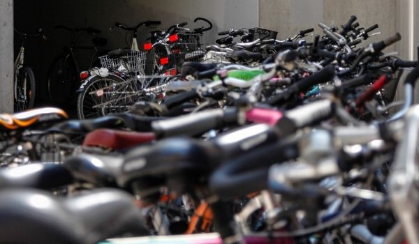 an image of a collection of dutch bicycles in spain